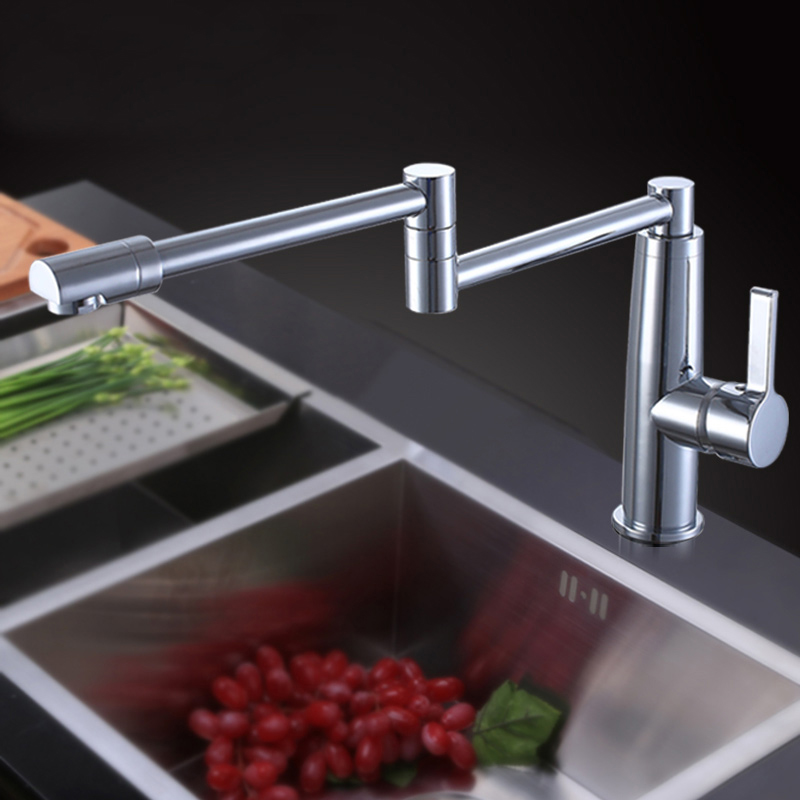 Free shipping Deck Mount Folding 360 degree rotate hot and cold Kitchen Faucet Single Handle brass