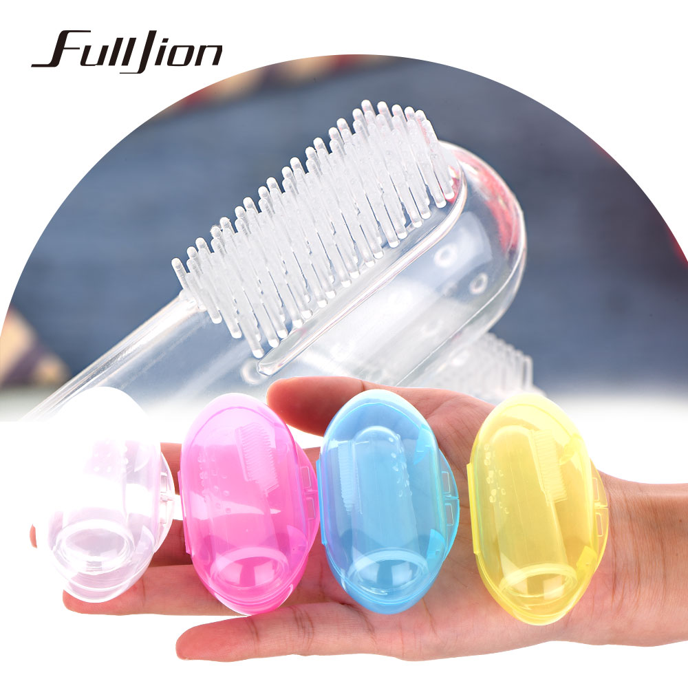 Fulljion Dental Care Baby Toothbrush Kids Silicone Finger Brush Clear Massage Soft Teether With Box For Infant Boy Girl Teeth image