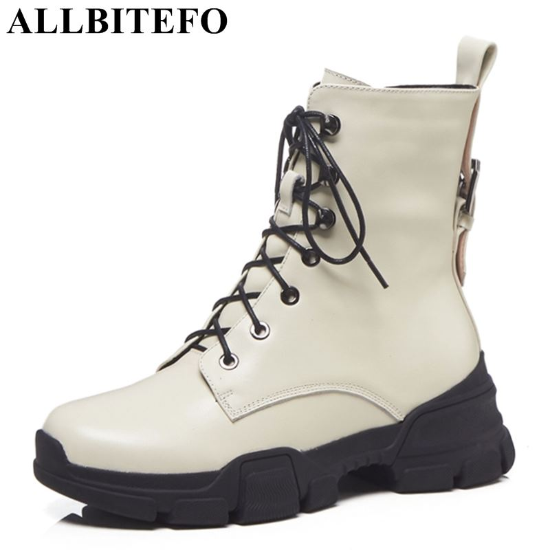 ALLBITEFO hot sale genuine leather high heels ankle boots women brand thick heels winter women boots ladies boots girls shoesALLBITEFO hot sale genuine leather high heels ankle boots women brand thick heels winter women boots ladies boots girls shoes