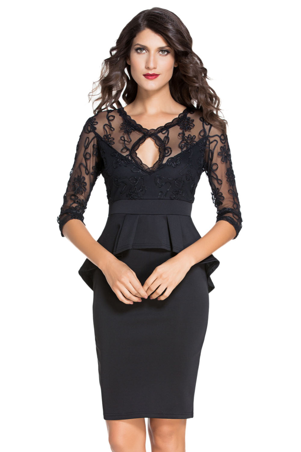 Black dress office - Sexy Knee Length Work Wear Backless Office Pencil 3 4 Three Quarter Sleeve Embroidery