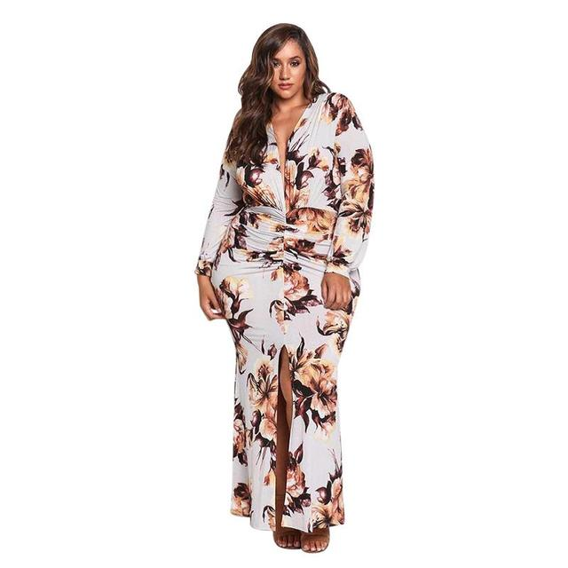 Adogirl White Plus Size Ruched Floral Plunge Maxi Dress Long Sleeve Ladies  High Split Ankle Length Big Size Long Dress Robe-in Dresses from Women\'s ...