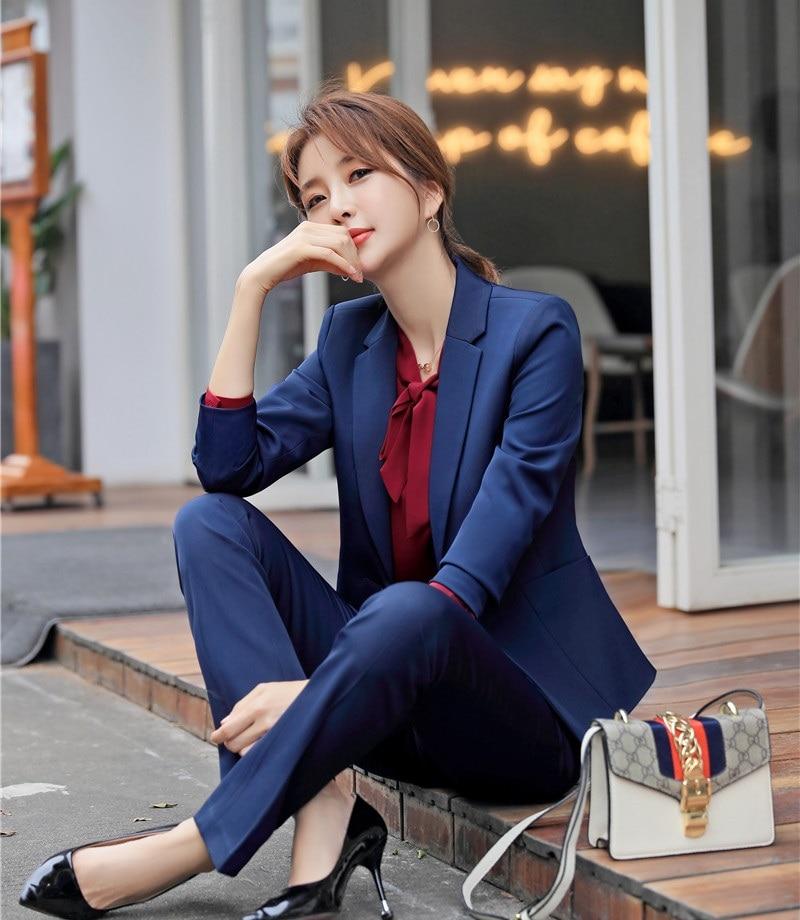 Fashion Navy Blue Uniform Designs Pantsuits Women Business Suits With Tops And Pants Ladies Blazers Suits Female Pants Suits