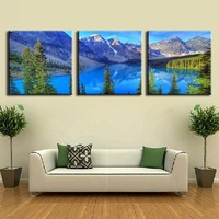 3 Pcs/Set Art on Canvas Alps mountains and Blue lakes Landscape Canvas Prints Modern Wall Paintings Decorative Picture Unframed
