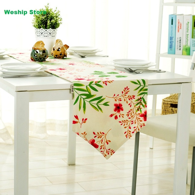 Fashion Home Double Deck Cotton Table Runner Sakura Modern American Country Style Flag And