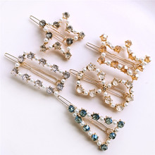 Korean Sweet Clips Women Fashion GeometricHair Accessories Metal Crystal Pearl Hairpins Lady Simple Hair Clip Barrette Headwear
