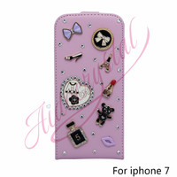 Aidocrystal DIY Pattern Lipstick Bowknot Bear Decoration Sweet Pink PU Leather Flip Wallet Case Cover For