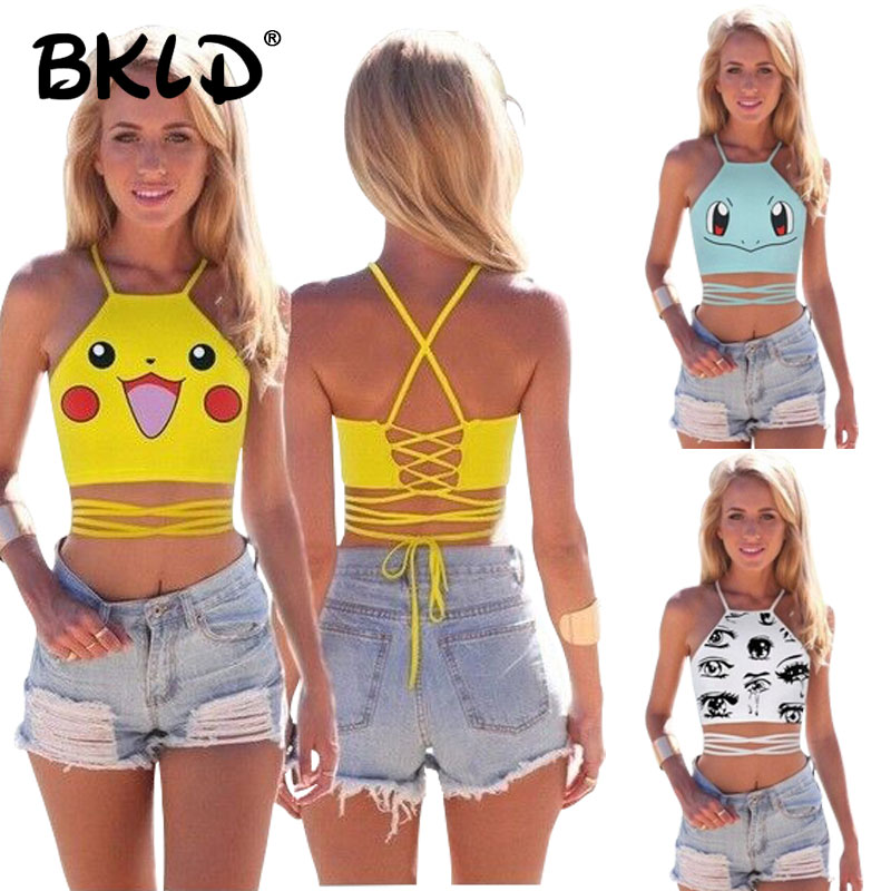 BKLD Summer Sexy Female Crop   Tops   Women Sleeveless Halter   Top   Pokemon Cartoon Pattern Lady Camis Vest Casual   Tank     Top   Crop   Top
