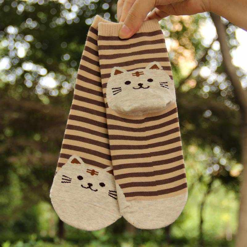 3D Cat Animal Prints Striped Socks Lovely Cartoon Floor Length Socks For Maternity For Autumn Winter Warm Hosiery