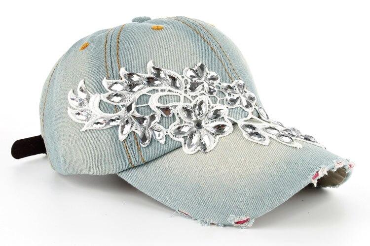 Высокое качество оптом и в розницу JoyMay шляпа Кепки Мода Досуг Стразы х/б джинсы колпачки в цветочном стиле летние Бейсбол Кепки B232 - Цвет: Color no 1
