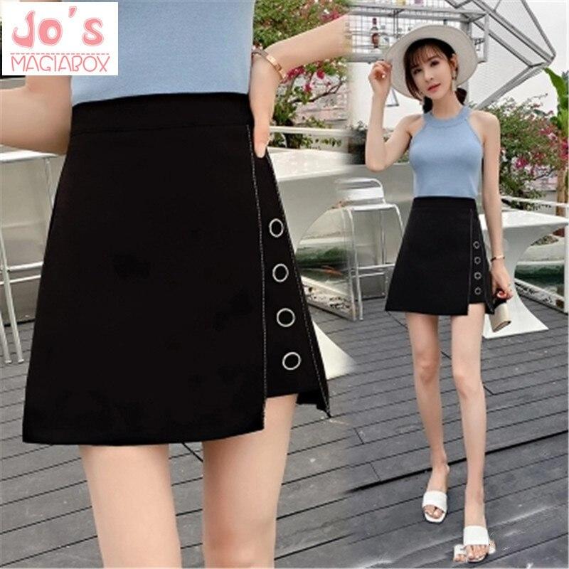 Women A-Line Mini Skirts Office Lady High Waist Package Hip Skirts 2019 Autumn Female Thin Irregular Split Above Knee Skirts Юбка