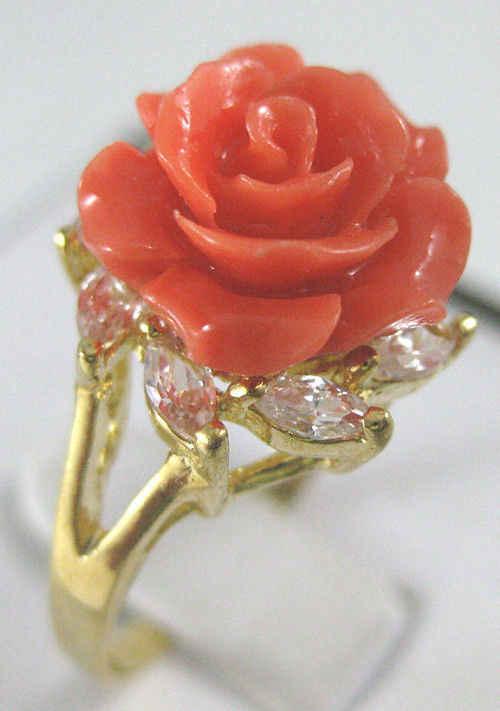 Fine สีชมพู jadel แหวนดอกไม้ #7,8, 9