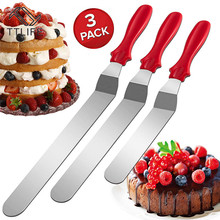 3pcs 6/8/10 inch Stainless Steel Cake Spatula Butter Cream Icing Frosting Knife Smoother Kitchen Pastry Decoration Tools