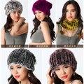 Chapéus das mulheres de inverno 2016 Novas mulheres real rex rabbit fur chapéu de malha cachecol uma peça-natural Russo chapéus de pele de coelho quente cap