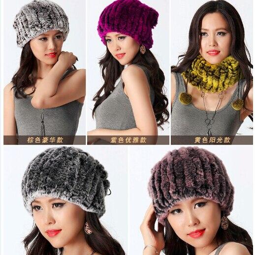 ФОТО Women's hats winter 2016 New women real rex rabbit fur knitted hat scarf one-piece Russian natural rabbit fur hats warm cap