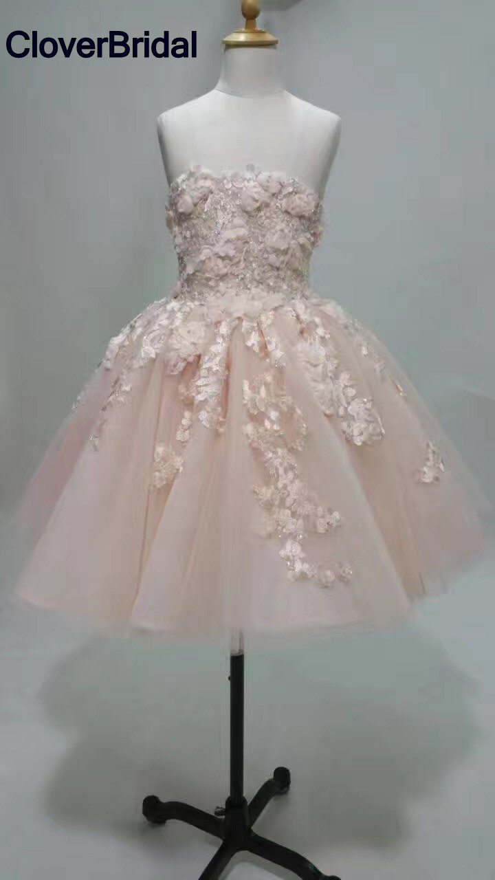 Romantic young short juniors pink organza lace cocktail dresses 2017 knee length lovely lace appliques