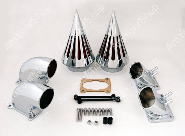 Sale for Suzuki Boulevard M109 Motorcycle Moto Cone Spike Air Cleaner Intake Filter System Kit with Adapters CNC Aluminum Chrome