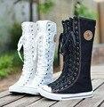 Горячие продажи моды для женщин, Холст Сапоги Колено Высокие Ботинки леди мотоцикла сапоги, размер 35-43 Белый/Черный 5A105