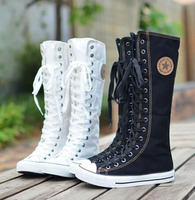 2014 Hot Sale Fashion Women Canvas Boots Knee High Sneakers Lady Motorcycle Boots Size 35 43