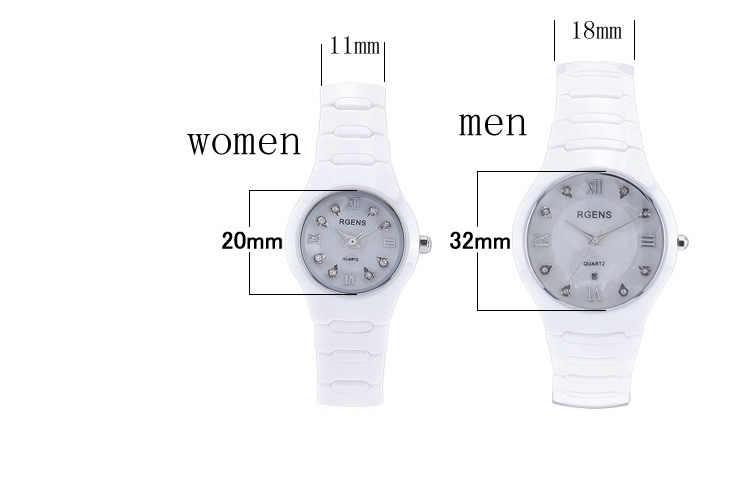 new womens watches waterproof casual woman wristwatches white 100% ceramic quartz diamond calendar ladies clocks RGENS brand