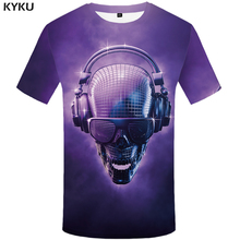 KYKU Skull Tshirt Men Purple Music T-shirt Punk Rock Clothes Anime Light 3d Printed Hip Hop Mens Clothing Streetwear Top
