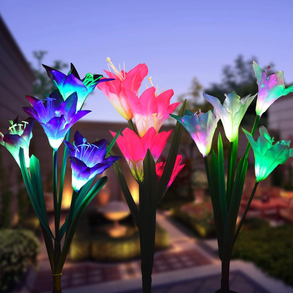 Beaty Solar Panels Powered Lily Flower 4 LED Lights Outdoor Garden Yard Lamps