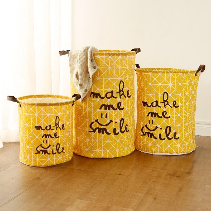 Große Wäsche Korb Spielzeug Lagerung Picknick Korb Box Baumwolle Waschen Kleidung Box Baby Orgnizer Bin Machen mich lächeln La La la Liebe Sie
