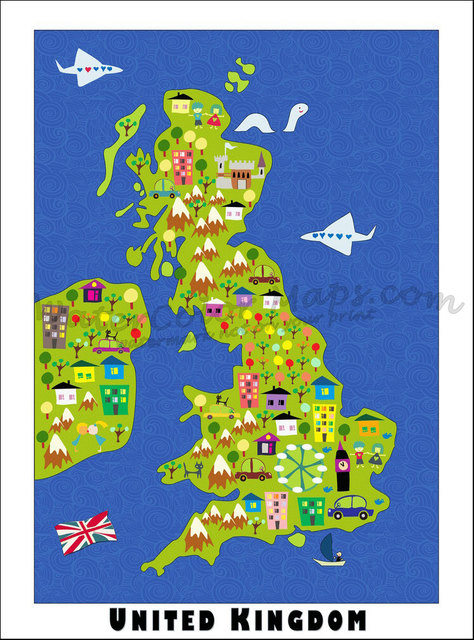 Cartoon Map Of The United Kingdom British Classic Vintage Retro