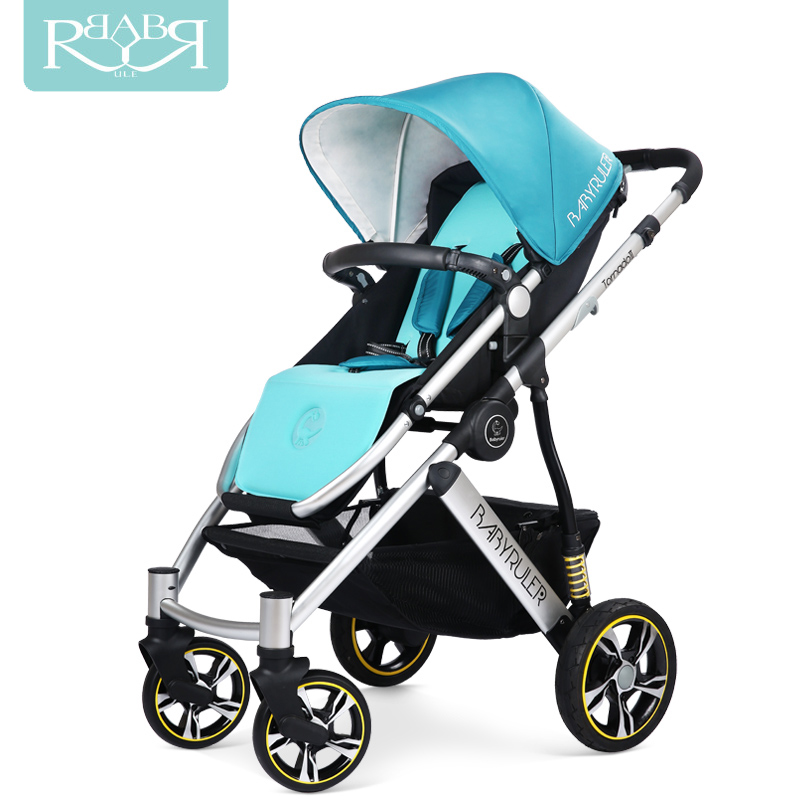Babyruler Baby Stroller 3 in 1 High Landscape Aluminum Luxury Folding Baby Carriage Pram for Newborn Kinderwagen Four Wheels babyruler baby stroller 3 in 1 high landscape aluminum luxury folding baby carriage pram for newborn kinderwagen carrinhos koltu