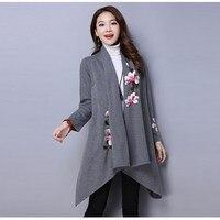 Winter Sweater Cloak Coat Women Floral Embroidery Kimono Autumn Long Female Overcoat Long Sleeve Trench Coat