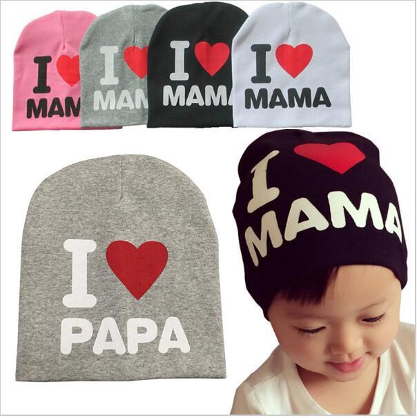 UK/_ I LOVE MAMA//PAPA LETTER BABY BOY GIRL BEANIE CAP ELASTIC OUTDOOR SKULL HAT F