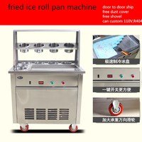 2017 single pan fried ice cream machine,stainless steel fried fry frying ice roll machine,ship by air to your home with cover