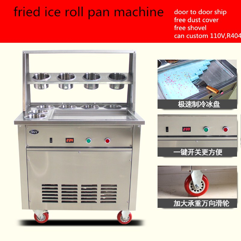 2017 single pan fried ice cream machine,stainless steel fried  fry frying   ice roll machine,ship by air to your home with cover 2017 ce approved thai style fried ice cream roll machine single pan fry ice machine fast cooling ice pan machine with dust cover
