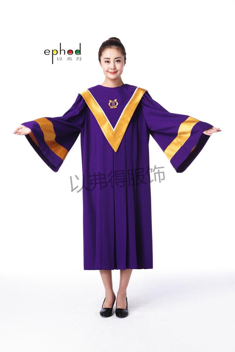 Us 6138 7 Offvatikan Stil Lila Und Goldenen Taufe Chor Kirche Klerus Bekleidung Priest Gewänder Pastor Roben Kirche Chor Pastor Kostüm In