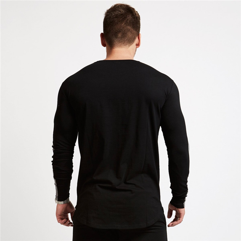 men long sleeved t shirt gyms Fitness-5
