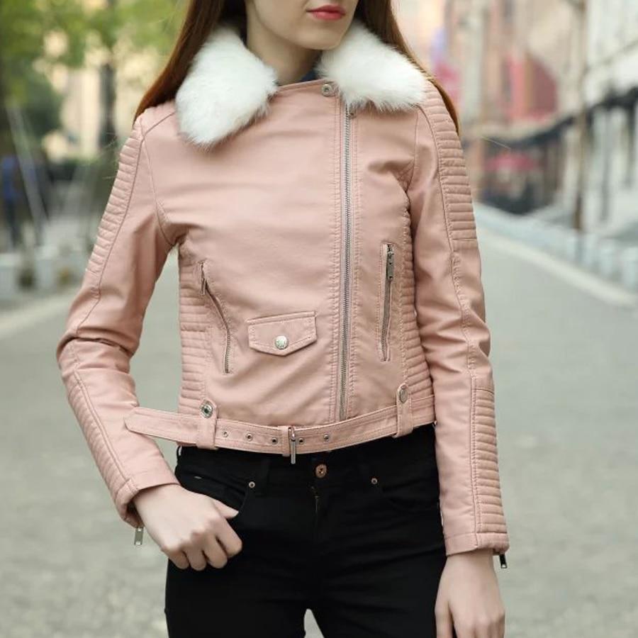 d59b236629f40e Hiver cuir épais vestes fermetures Motorcycle manteau femmes designer mode  vêtements veste rose noir jaqueta couro col de fourrure