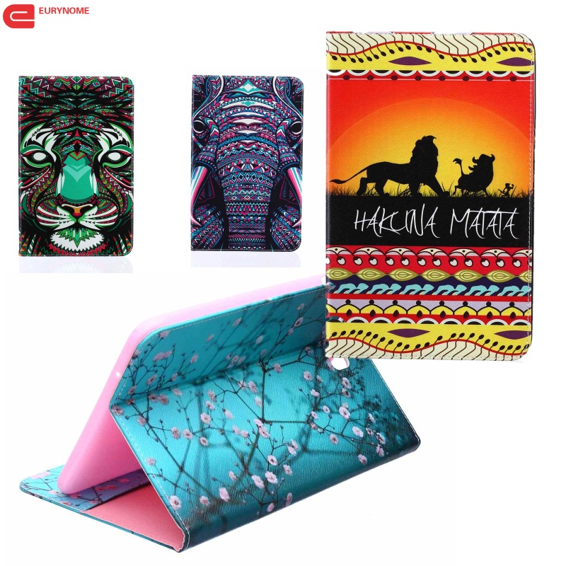 Fashion Cartoon flower tree abstract painting Wallet PU Leather Stand Case Cover For Samsung Galaxy Tab E 9.6 T560 SM-T560 T561