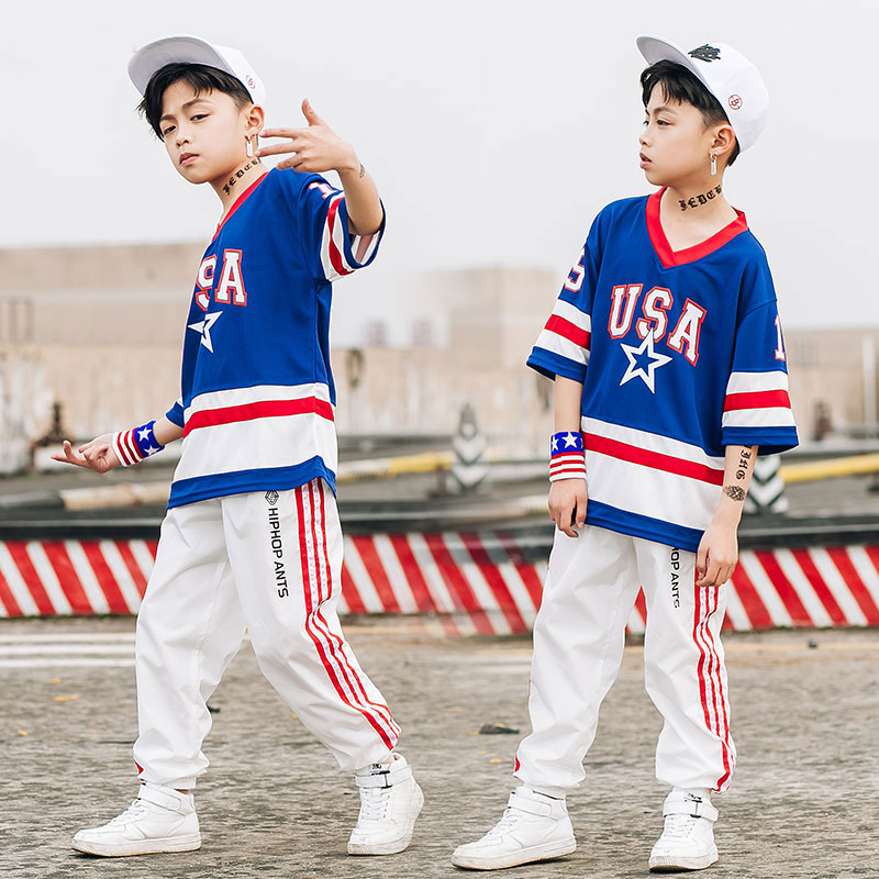 kids street dance clothing sets blue USA letter short sleeve loose tops and white jogger pants boys baggy handsome hip pop suits