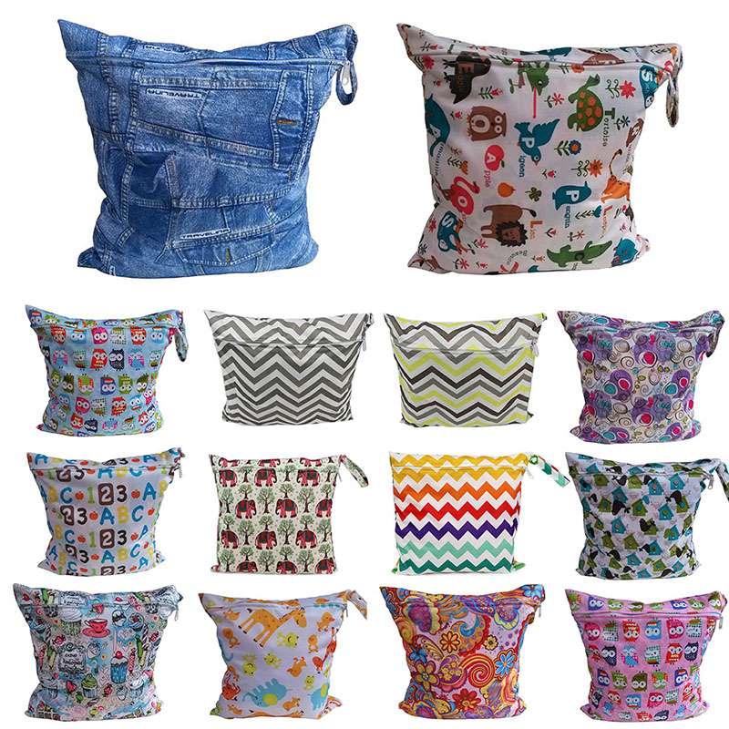 14 Styles Wholesale Infant Cloth Diaper Nappy Pouch Reusable Waterproof Zip Wet Dry Bag for Baby sj01