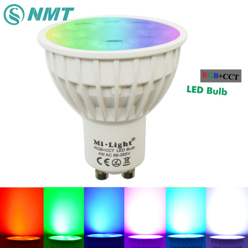 4W Mi Light LED Bulb GU10 Lamp Light Dimmable AC 220V RGB + Warm White + White (RGB+CCT) Spotlight Indoor Decoration