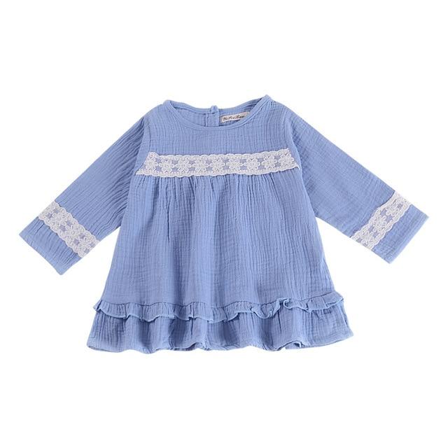 424f796d5be Mother nest Autumn New Girls Cotton Linen Dress Baby Long-Sleeved Lace Blue  Newborn Clothes Anniversaire Toddler Kids Dresses