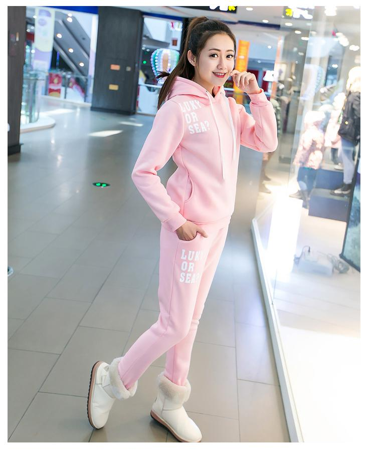 15 Colors Two 2 Pieces Women Fitness Set Hoodies & Pants Winter Sporting Set Clothes Spo ...