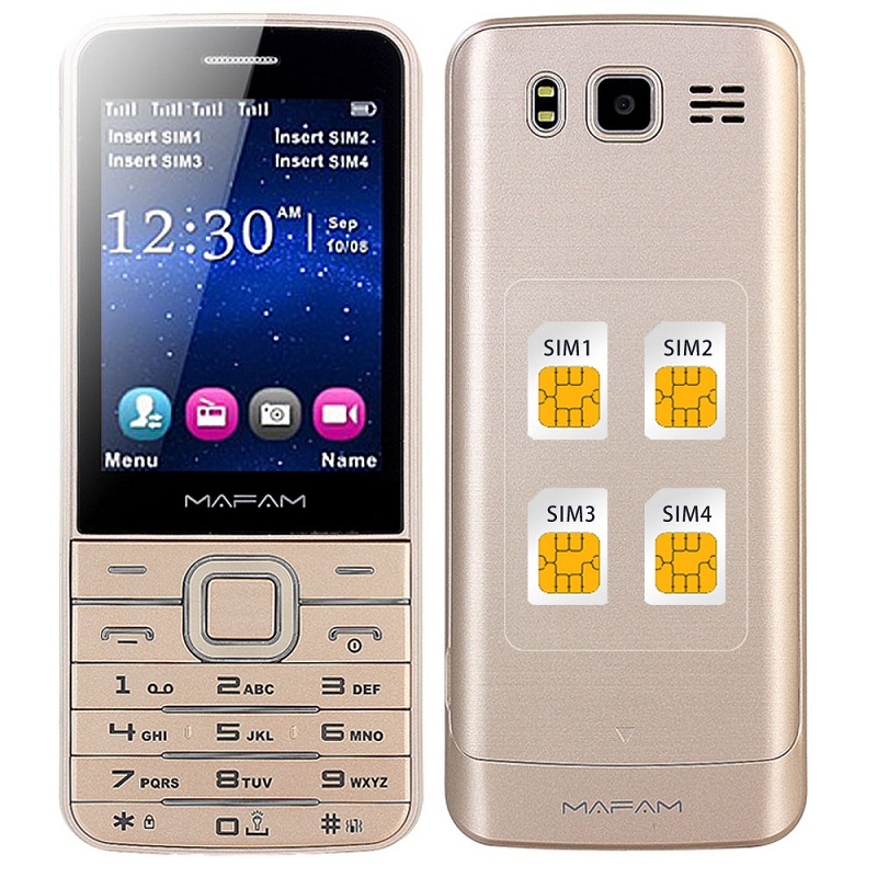 MAFAM Quad 4 SIM Four Standby Plastic Slim Mobile Phone Flashlight Magic Voice Changer SOS Speed Dial Phonebook 1000 M11 V9500