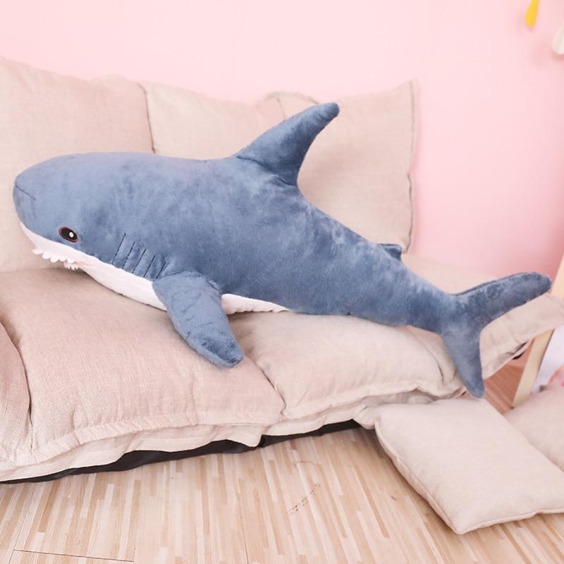 80/100 cm de gran tamaño suave divertido mordida de tiburón de peluche de juguete almohada apaciguar cojín de regalo para los niños