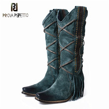 Prova Perfetto/Модные женские ботинки черного волшебного дизайна с квадратным носком, с перекрестной шнуровкой, с бахромой, в стиле ретро, на молнии сбоку, изящные рыцарские сапоги