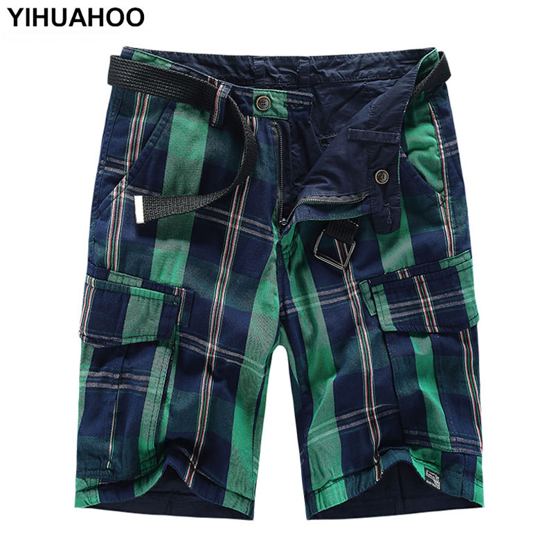 YIHUAHOO Summer Shorts Men 2018 Casual Two-Face Cotton Short Pants Reversible Trousers Pockets Bermuda Cargo Shorts AKM-1728