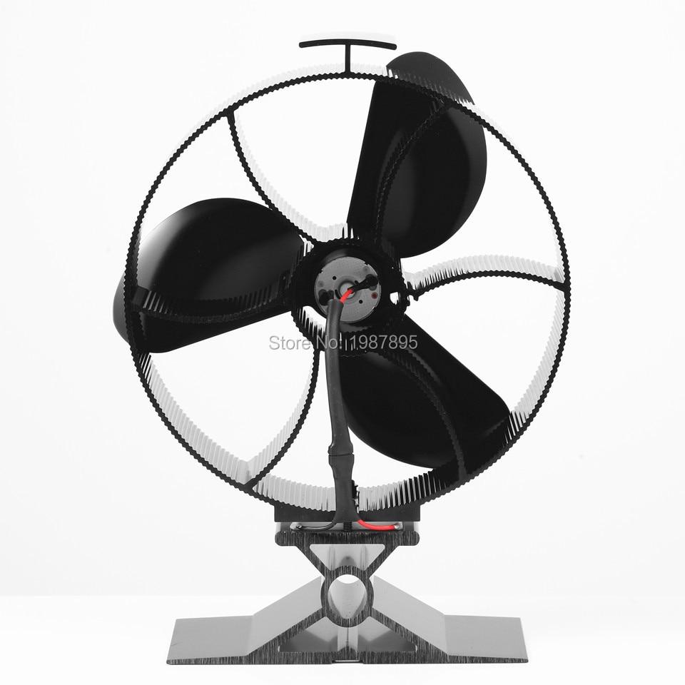heat powered round stove fan 3 blade black aluminum wood burning
