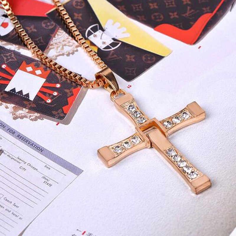 GHRQX gorący bubel film szybki i wściekły naszyjnik dominic toretto krzyż wisiorki męskie dla mężczyzn biżuteria kryształowy naszyjnik