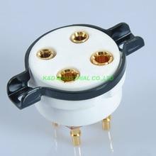 лучшая цена 2pcs 4pin CMC Ceramic Gold Tube Socket Valve PCB 2A3 300B 274A 50 80 Audio Part