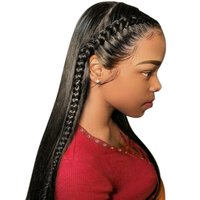 13x6 Синтетические волосы на кружеве натуральные волосы парики для Для женщин натуральный черный плотность 250% бразильский прямые Glueless Синте