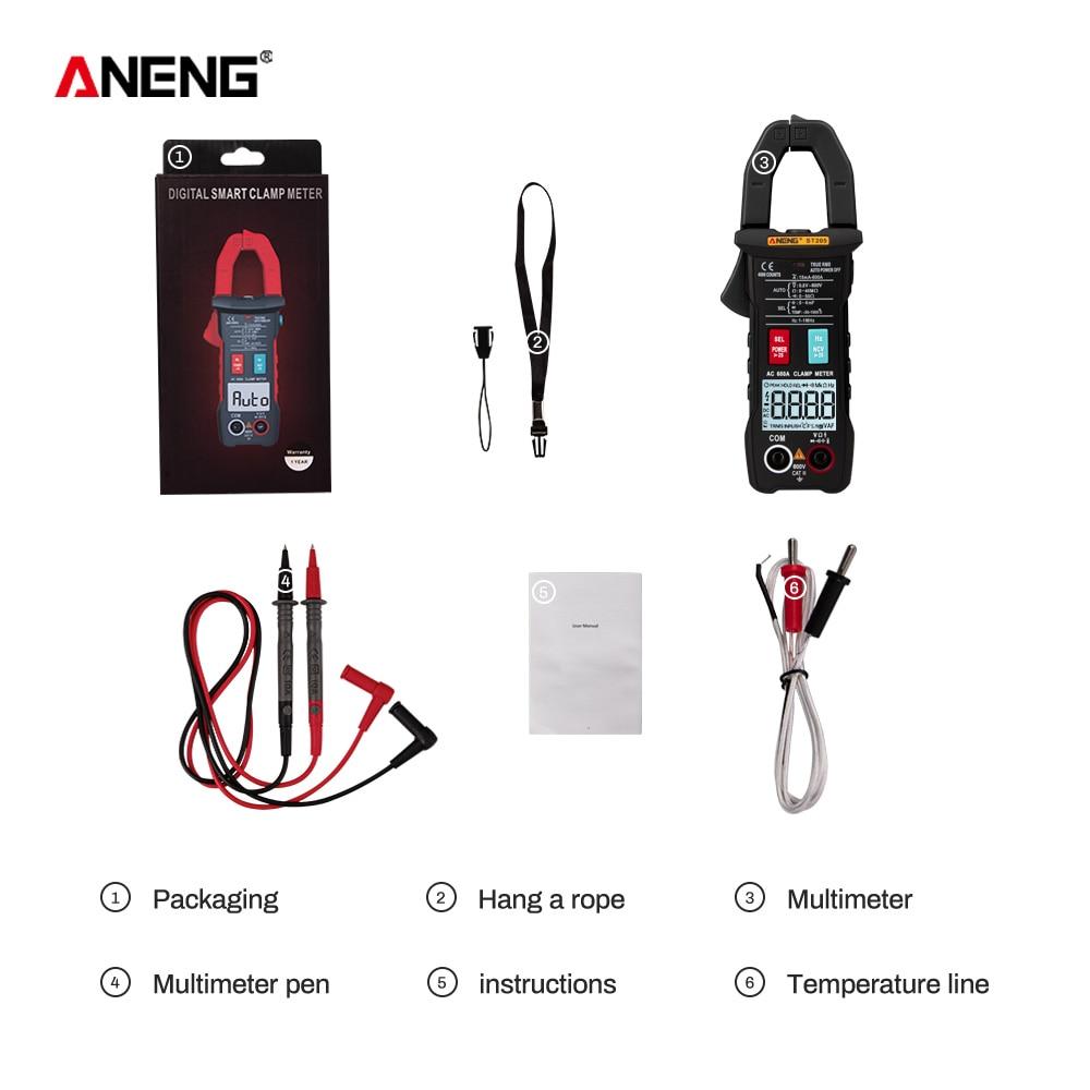 ANENG ST205 цифровой клещи аналоговый мультиметр токовые клещи DC/AC Интеллектуальный автоматический измеритель диапазона с тестером температуры - Цвет: Черный